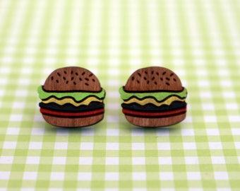 Burger wooden stud earrings - wooden studs - wooden jewelry - wooden jewellery - fast food