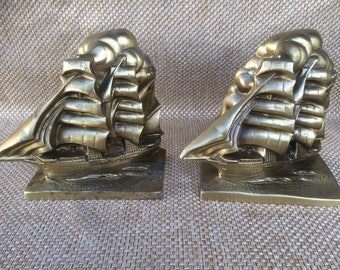 Brass ship bookends