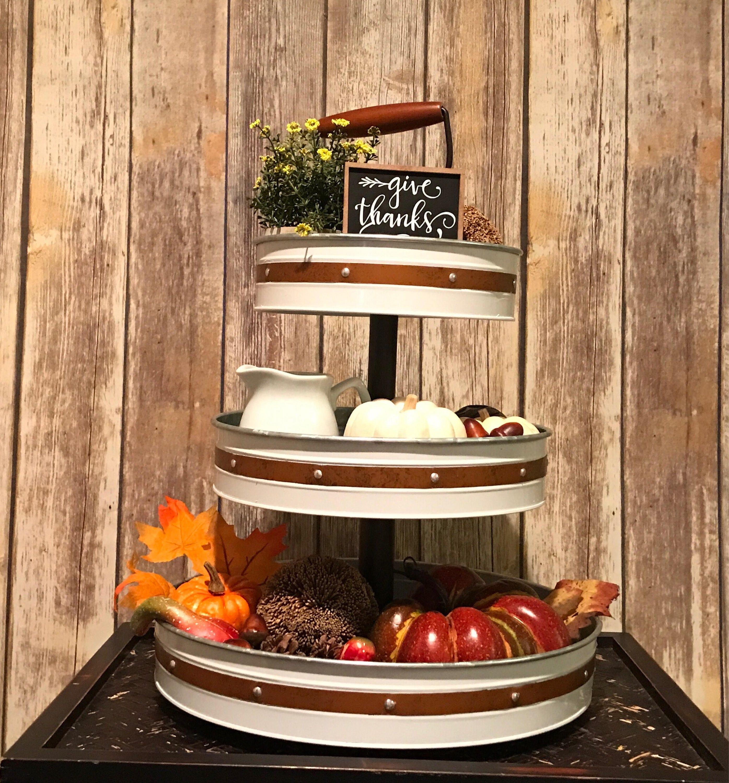3 Tier Tray Stand Farmhouse Table Centerpiece Galvanized