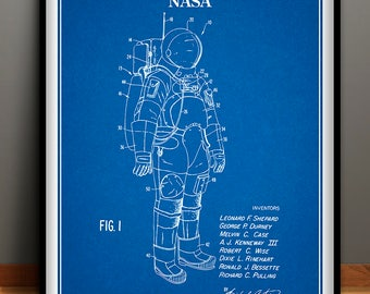 1973 NASA Apollo Space Suit Patent Print, Space Exploration, NASA Space Suit, Astronaut Space Suit Design, Spacecraft, Space Travel