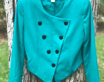 kelly green double breasted crop blazer