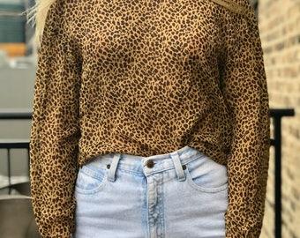 vintage long sleeve silk leopard print blouse from bloomingdale's