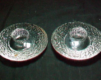 Pair Orrefors Sweden Disc Votives