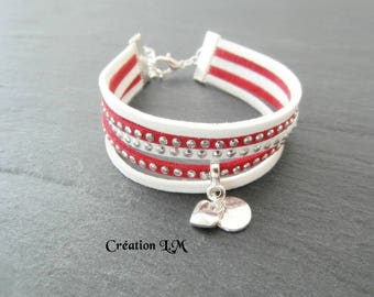 Red and white silver Cuff Bracelet