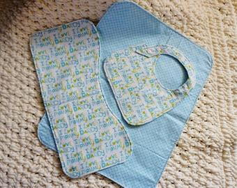 baby bib, burp cloth and changeing pad