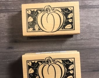 Small Pumpkin And Leaf Wooden Block Stamp