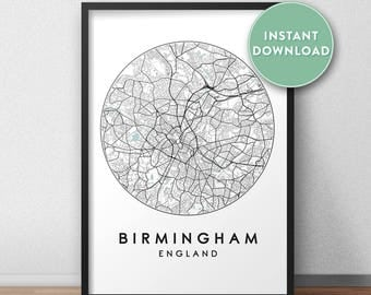 Birmingham City Print Instant Download, Street Map Art, Birmingham Map Print, City Map Wall Art, Birmingham Map, Travel Poster, UK,