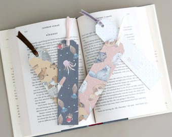 Set of 4 Cute Animals Pattern Paper Bookmarks with Short Ribbons — Cat, Capybara, Alpaca, Squid