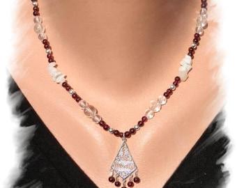 Garnet, rock crystal, Moonstone necklace, 925 Silver