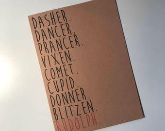 ClemmieLouCards - Dasher, Dancer, Prancer, Vixen, Comet, Cupid, Donner, Blitzen RUDOLPH - Christmas/Holiday card