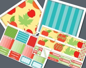 "September 2018 Monthly Planner Sticker Kit ""Apples"": Made to fit Erin Condren Life Planner"