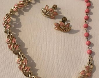 Vintage Coro Pink & Gold Choker Necklace with Clip on Earring Costume Jewelry Set