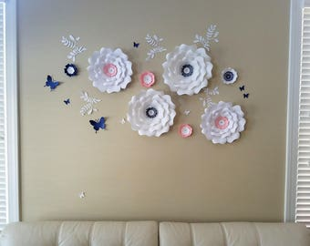 Paper flowers wall decor. Large white paper flowers wall. Nursery white flowers wall. Wedding backdrop. Girls room flowers wall decor.