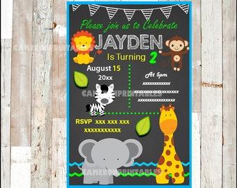 Safari Animal Invitation, Printable Jungle Animal baby shower party invitation, Zoo Birthday invitation