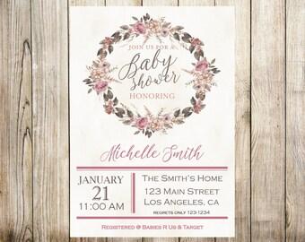Floral Vintage Baby Shower Digital Invitation
