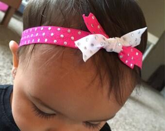 SET OF TWO pink/white polka dot - Newborn/Baby/Toddler/Adult Elastic Headband - Tie Knot Headband