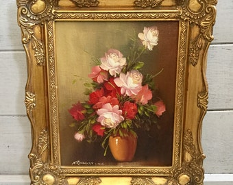 English oil painting floral roses hand signed by Robert Cox