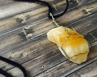 Hand-wrapped Citrine Pendant
