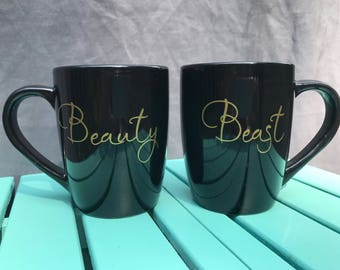 Beauty and Beast Mugs - Couples Mug Set in Black - His And Her - Funny