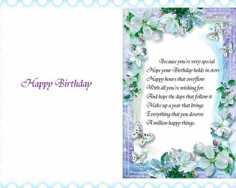 Assorted Cottage Birthday card inserts with verse