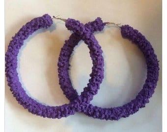Purple crystal hoop earrings