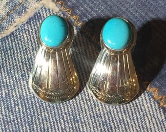 Turquoise Sterling Silver Earrings Native American Southwestern Earrings