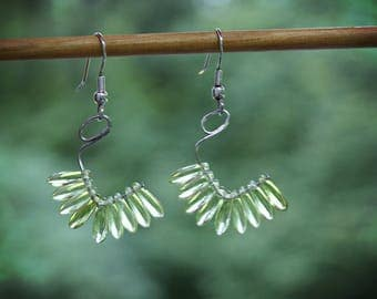 Abstract Green Feather Earrings