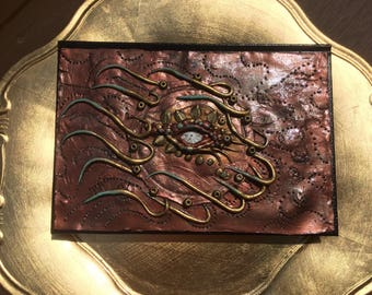 Polymer clay bronze steampunk sun journal