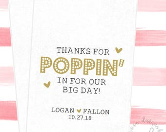 Thanks For Poppin', Wedding Candy Bags, Favor Bags, Popcorn Bags, Candy Buffet, Popcorn Buffet Bags, Cookie Bags, Wedding Favors, RD91