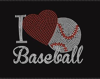 I Love Baseball Rhinestone Iron on Transfer