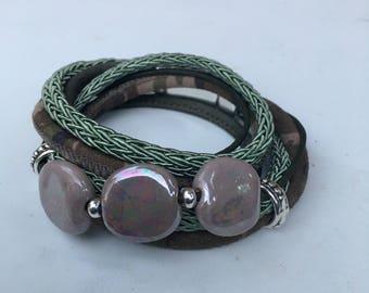 Wrap bracelet kazuri beads green army dqmetaal bracelet bracelet