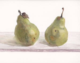 Original watercolor with two pears on white background / Realistic painting / Realistic art / Gift for mom / Wall decor / Pear with leaf