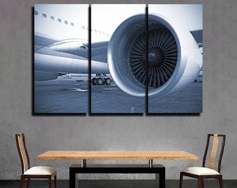 Airplane Closeup Aircraft Print Plane Engine Airplane Decor Engine Canvas Aircraft Decor Jet Print Turbine Passenger Airplanes Plane