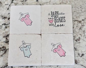 Baby Coasters// Stamped Tumbled Marble Coaster// Baby Shower Coaster- set of 4