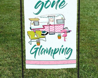 "Gone Glamping Flag, Chevron Camper flamingo, campsite, clamping, Display at your campsite, 12""x18"" , retirement gift, birthday gift"