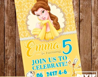 Belle Invitation,Belle Birthday Invitation, Belle Pig Printable Invitation, Princess Belle Printable Party, Belle Birthday Card
