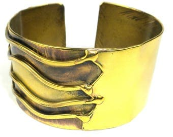 Handcrafted Waves Brass Cuff  | Handcraft Brass Cuff Bracelet Jewelry | Handmade By Artists | Unique Gift | Woman Bracelet |