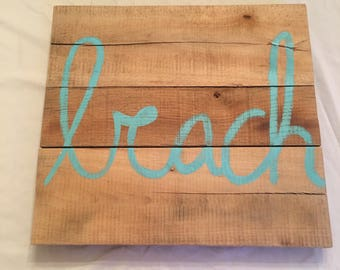 Reclaimed wood personalized beach sign