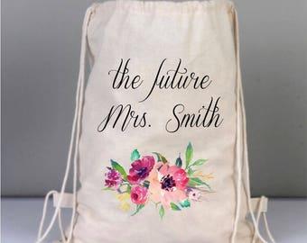 Bridal Bags, Drawstring Wedding Backpack, Personalized Bridal Gifts, Bridesmaid Gifts, Canvas Bridal Bag, Wreath Bag, Watercolor Roses