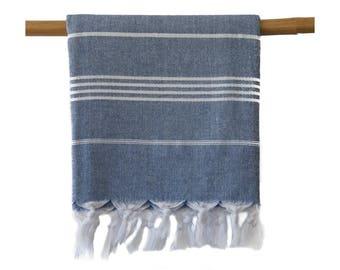 Iris Navy Blue Turkish Towel Peshtemal