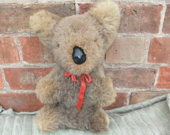 Vintage 1960,s Real Fur Australian Koala Bear Toy with leather nose 29cm