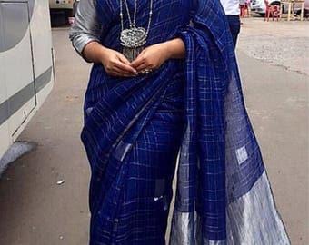 Anavila beeryblue jamdani sari