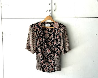80s floral blouse | vintage womens top | 80s vintage shirt