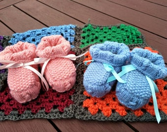 Handknit Baby Booties | Birth-3 months | 4ply Baby Wool
