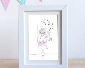 Cute Robot Playing the Ukulele -Printable Digital Download-