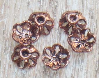 4x7mm Copper Flower Bead Caps, Flower Caps, Petal Bead Caps 10pcs