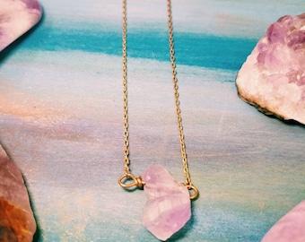 Dainty Amethyst Necklace - February birthstone minimalist necklace