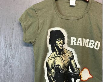 S * NOS women's Vintage 80s Rambo movie t shirt