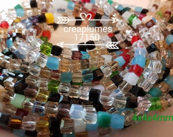 30 beads faceted glass 4mm cubes