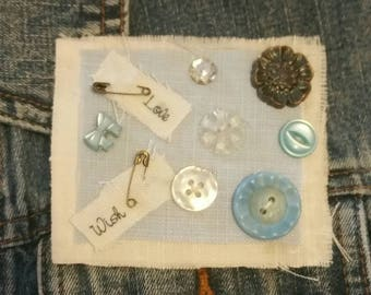Vintage Fabric Brooch, Textile Pin, Shabby Chic, OOAK